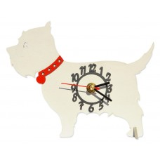 White Dog Mini Clock